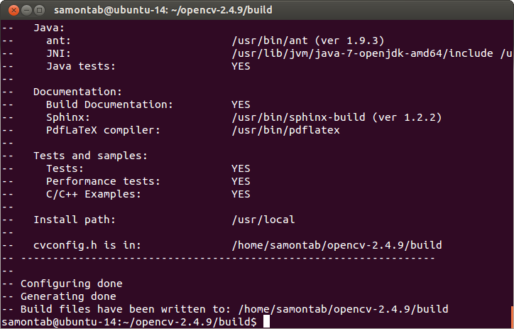 Installing OpenCV 2 4 9 in Ubuntu 14 04 LTS – Sebastian Montabone